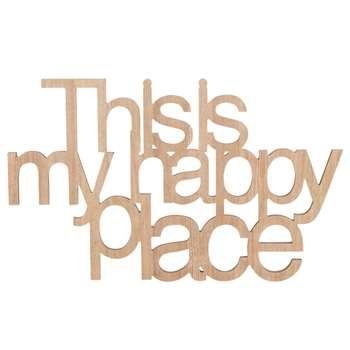 HAPPY PLACE Cut Out Wall Art (H37 x W60 x D1.5cm)