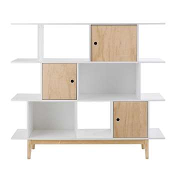 HAPPY White wooden bookcase (130 x 145cm)