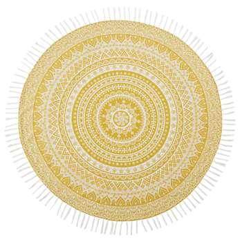 HAPPY ZEN Yellow Cotton Fouta Beach Towel with White Mandala Print (Diameter 150cm)