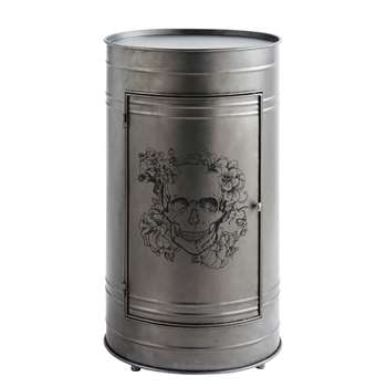HARLEM - Black Metal Drum Bedside Table (H71 x W40 x D40cm)