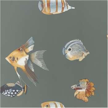 Harlequin Kamanu Wallpaper, Amber/Slate 111648 (H1005 x W68.6cm)