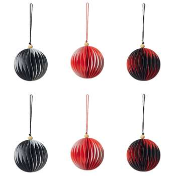 Harlequin Paper Baubles Set of Six - Multi (H9 x W8cm)