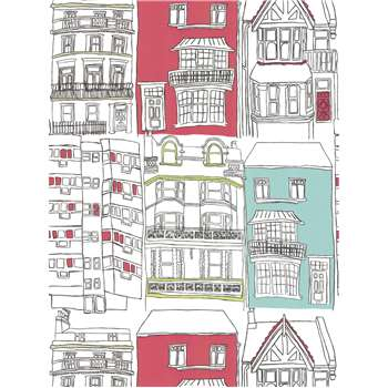 Harlequin Wallpaper, Brighton - Turquoise / Red, 75627