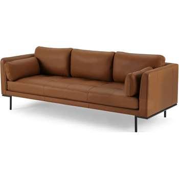 Harlow 3 Seater Sofa, Denver Tan Leather (H83 x W227 x D89cm)