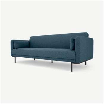 Harlow Click Clack Sofa Bed, Orleans Blue (H80 x W208 x D87cm)
