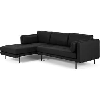 Harlow Left Hand Facing Chaise End Corner Sofa, Denver Black Leather (H83 x W265 x D165cm)