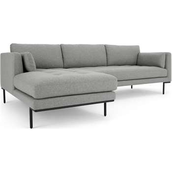 Harlow Left Hand Facing  Chaise End Corner Sofa, Mountain Grey (H83 x W265 x D165cm)