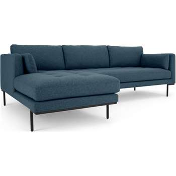 Harlow Left Hand Facing  Chaise End Corner Sofa, Orleans Blue (H83 x W265 x D165cm)