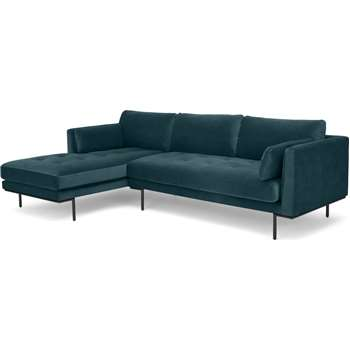 Harlow Left Hand Facing  Chaise End Corner Sofa, Steel Blue Velvet (H83 x W265 x D165cm)