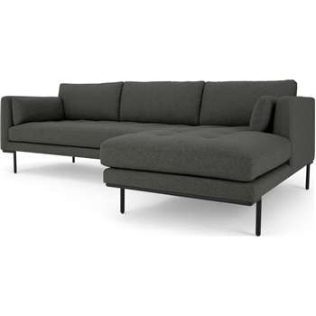 Harlow Right Hand Facing Chaise End Corner Sofa, Hudson Grey (H83 x W265 x D165cm)