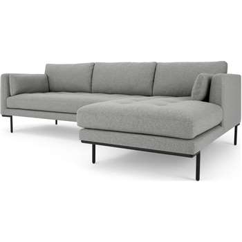Harlow Right Hand Facing Chaise End Corner Sofa, Mountain Grey (H83 x W265 x D165cm)