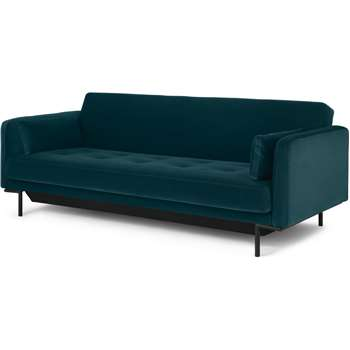 Harlow Sofa Bed with Storage, Steel Blue Velvet (H80 x W212 x D89cm)