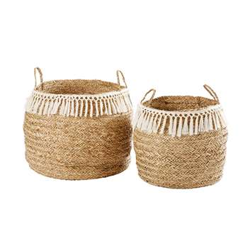 HARMONY 2 Woven Seagrass Baskets with Tassels (42 x 60cm)