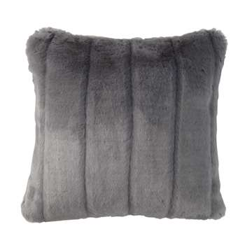 HARMONY faux fur cushion in grey (45 x 45cm)