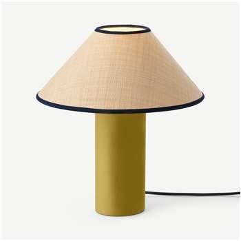 Haroon Bedside Table Lamp, Raffia & Gold Velvet (H37 x W33 x D33cm)