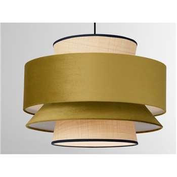 Haroon Lamp Shade, Antique Gold Velvet & Raffia (H35 x W50 x D50cm)