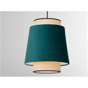 Haroon Lamp Shade, Peacock Blue Velvet & Raffia (H40 x W28 x D28cm)