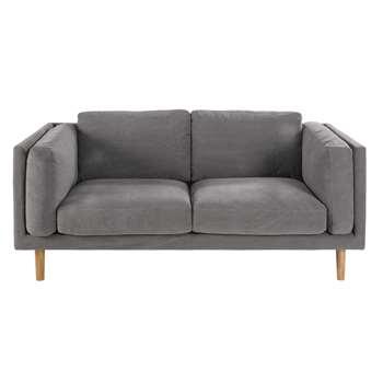HARPER Grey 2/3-seater cotton sofa (88 x 185cm)