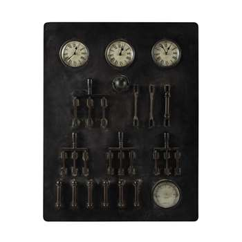 HARRISON metal industrial clocks in black (70 x 90cm)