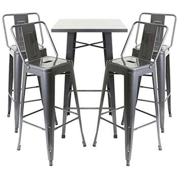 Hartleys Gunmetal Bistro Table & 4 Bar Stools with Backrests Set (100 x 60cm)