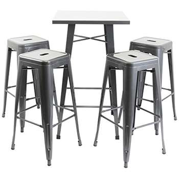 Hartleys Gunmetal Bistro Table & Stool Set (100 x 60cm)