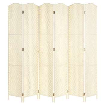Hartleys Solid Weave Hand Made Wicker Room Divider, 6 Panel - Cream (H170 x W234cm)