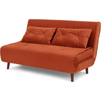Haru Large Double Sofa Bed, Velvet Flame Orange (H82 x W142 x D89cm)