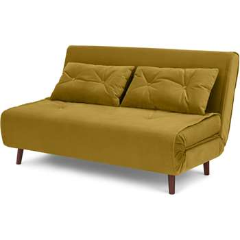 Haru Large Double Sofa Bed, Vintage Gold Velvet (H82 x W142 x D89cm)