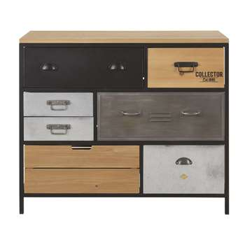 Harvey - 8-Drawer Metal and Fir Chest of Drawers (H86 x W100 x D47cm)