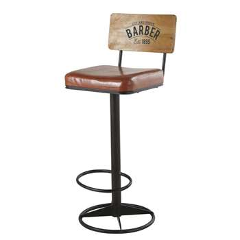 Harvey - Brown Coated Fabric and Black Metal Bar Chair (H104.5 x W41.5 x D44cm)