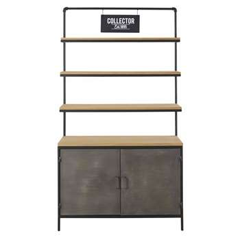 Harvey - Industrial-Style 2-Door Pine and Metal Shelving Unit (H188 x W100 x D42cm)