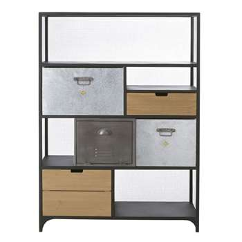 Harvey - Industrial-Style 4-Drawer 1-Door Pine and Metal Bookcase (H141 x W99 x D32.5cm)