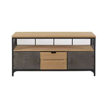 Harvey - Pine and Metal 1-Drawer 2-Door Industrial-Style TV Unit (H60 x W120 x D42cm)