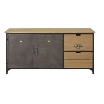 Harvey - Solid Fir and Metal 2-Door 2-Drawer Sideboard (H70 x W145 x D45cm)
