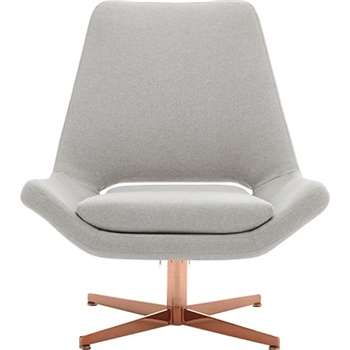 Harvey Swivel Chair, Hail Grey with Copper Base (94 x 82cm)