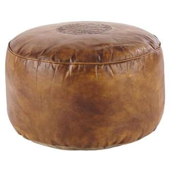 HASSAN goatskin pouffe in brown (30 x 50cm)