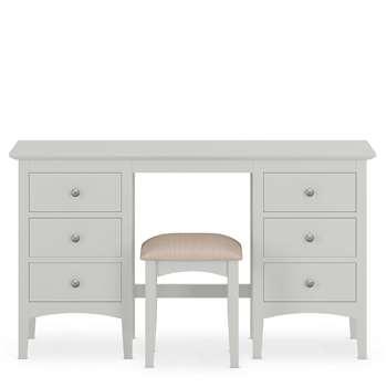 Hastings Grey Dressing Table & Stool Set, Grey (H77 x W137 x D44cm)