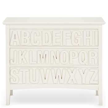 Hastings Ivory ABC 3 Drawer Chest, White (H82 x W101 x D40cm)
