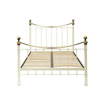 Hastings Ivory and Brass Bed Frame Single (128 x 90cm)