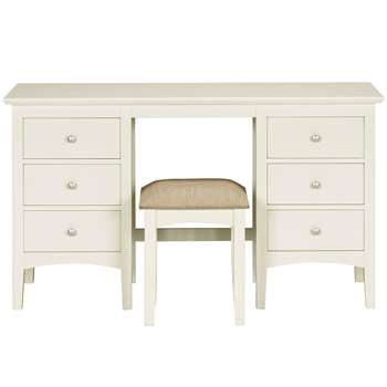 Hastings Ivory Dressing Table & Stool Set (H77 x W137 x D44cm)