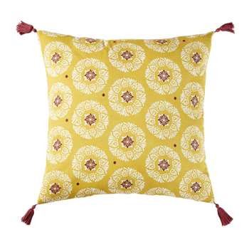 HATHA Outdoor Cushion in Yellow Cotton with Graphic Print (H10 x W45 x D45cm)