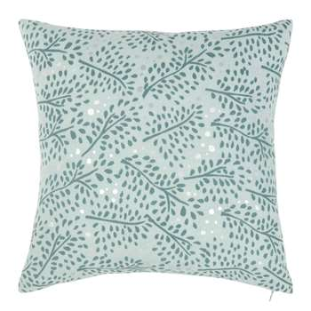 HAUDERES - Blue Cushion Cover with Silver Print (H40 x W40cm)