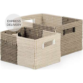 Havana Seagrass and Set of 2 Baskets, Black and White (H21 x W30 x D38cm)