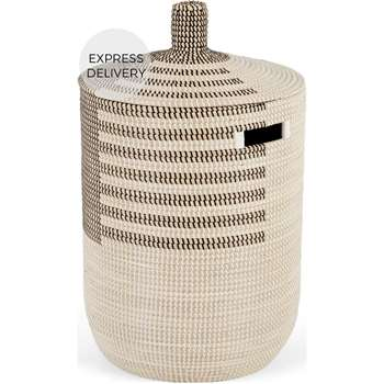 Havana Seagrass Laundry Basket, Black and White (H70 x W41 x D41cm)