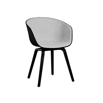 HAY - About A Chair AAC22 with Front Upholstery - Black Shell (79 x 52cm)