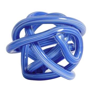 HAY - Glass Knot Ornament - Blue - Medium (H15 x W15 x D15cm)