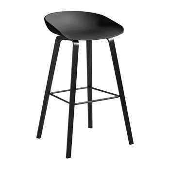 HAY - Oak Stool - Black - High (H74 x W50 x D46cm)
