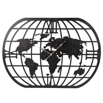 HAYDEN - Matte Black Metal World Map Clock (H58 x W80 x D4.5cm)