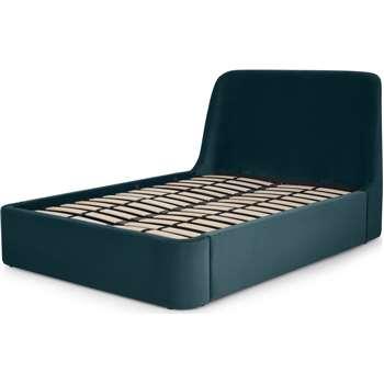 Hayllar King Size Bed with Ottoman Storage, Steel Blue Velvet (H110 x W166 x D224cm)