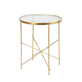 HAZEL - Gold Metal and Glass Side Table (H52 x W40.5 x D40.5cm)